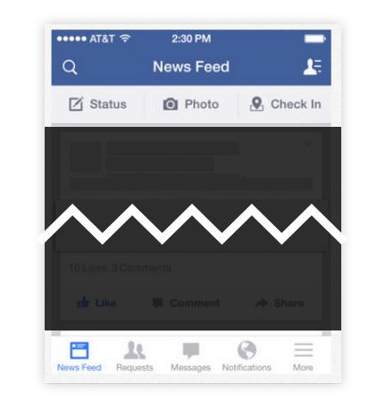 interfaz de facebook lleno de iconos y pestañas