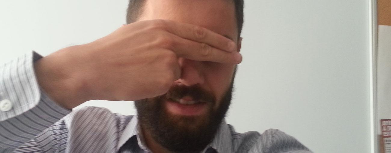 Foto de Jesús Martín avergonzado