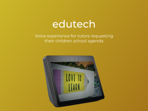 Logo for Edutech and a device on a yellow background