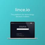 Portada proyecto Lince. Logotipo y ordenador con pantalla sobre fondo turquesa