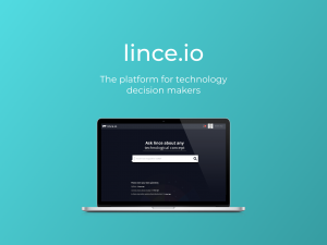 Logo for Lince and a device on a blue background