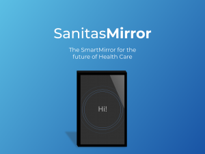 Logo for Sanitas SmartMirror and a device on a blue background