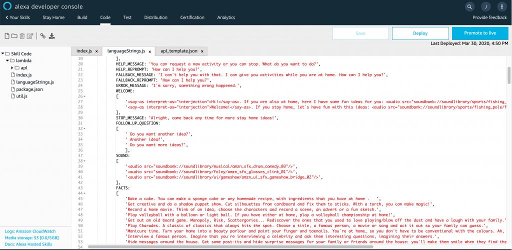 imagen de la consola de desarrollo de Alexa