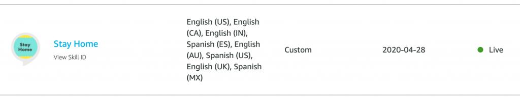 imagen consola desarrollo de la skill stay home en varios países